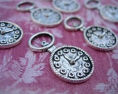 6 Alice in Wonderland Watch Charms - Silver finish White Rabbits Watch D.I.Y. Scrapbooking
