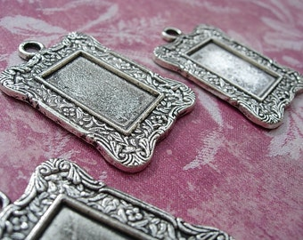 3 Settings Ornate Rectangular Picture Frame - Antiqued Silver finish D.I.Y. Altered Art