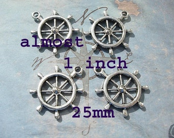 4 Large Ship's Wheel Charms - D.I.Y. Nautical Jewelry Making Ships Helm Pirates of the Caribbean