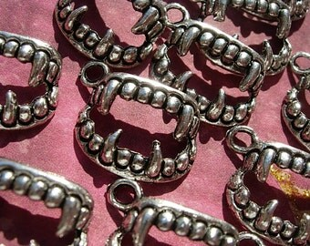 12 FANG Charms - Silver or Bronze finish D.I.Y.  Halloween Jewelry Making FAN Inspired Trueblood Twilight Diaries