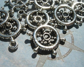 10 Ship's Wheel Charms - Silver finish D.I.Y. Nautical Pirate Jewelry Making