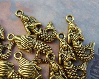 10 Gold  finish  3 D Mermaid Charm Drops - all around design D.I.Y.