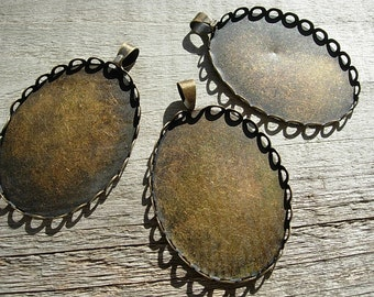 3 Pendant BLANKS Settings 40x30mm - Antiqued Brass finish D.I.Y. Statement Jewelry Making