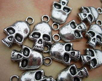 20  Spooky SKULL Charm Drops - one side D.I.Y. Halloween Jewelry