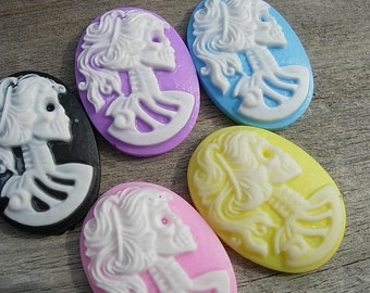 5 Candy Color Catrina CAMEOS 25x18mm - Kawaii Emo D.I.Y. Jewelry Making