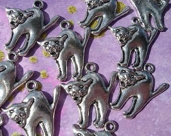 12 Scary CAT Charms Silver finish  - D.I.Y. Witch Familiar Halloween Pendant DIY Jewelry Making Gifts Crafts