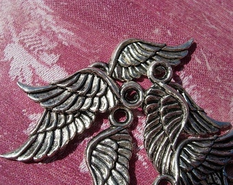 12 Tiny silver finish WING Charm Drops - A Dozen  pieces D.I.Y. Steampunk Pendants