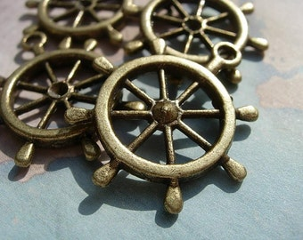 4 Large Ship's Wheel Helms Charms  - D.I.Y. Nautical Jewelry Making Beach
