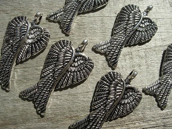 6 Seraphim Double ANGEL Wing Heart Charms - D.I.Y. Jewelry Making Cherub Fairy