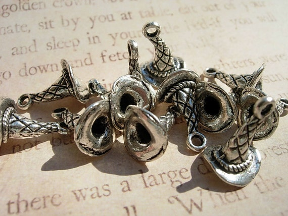12 Sorting Hat Charms    - Silver finish D.I.Y.  Jewelry Making Majicks 3D All around Dozen Harry Potter inspired