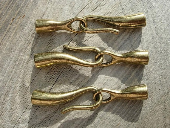 3 Sets  Bronze finish Large Hook & Eye Clasps  for 4mm Cord or Leather D.I.Y.