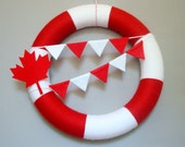 Canada Day Yarn Wreath Red, White, Maple Leaf, Bunting Flags. Patriotic Wreath, Decor. Summer Decor. Canadian Veteran Gift. - HeartfeltYarnWreaths