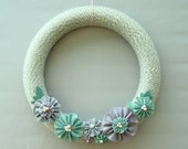 "Grey Yarn Wreath 14"" Door Wreath Grey, White, Seafoam Green, Purple - Seaside Gardens"