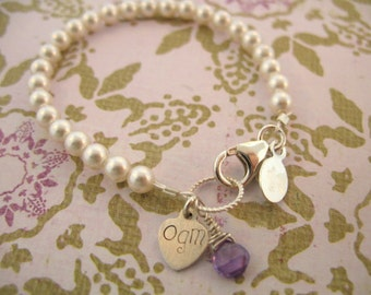 Baby Pearl with Initial and Birthstone