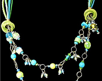 Lime and Turquoise Necklace