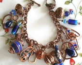 Copper Serendipity Blue Charm Bracelet