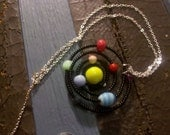 Solar System in Black with Yellow Sun