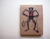 Sale 40% off - Timothy's Wool Ball Trick - Hand Painted Acrylic on Wood Pannel
