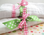 Burp Cloth Set of 2. Pink Gingham and Green Dots