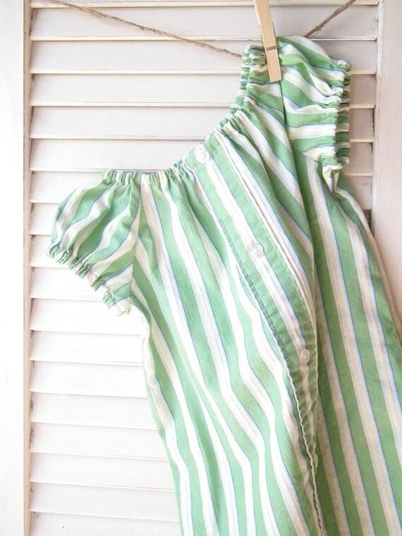Green Stripe Peasant Dress, Size 6-9 Months