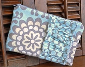 Zippered Pouch Clutch in Amy Butler Wall Flower Sky Blue