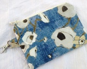 Pretty Blue Poppies Small Zippered Pouch