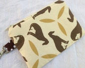 Brown and Gold Greyhound Small Zippered Pouch