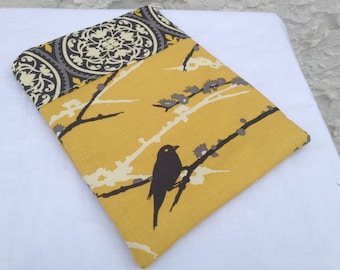 Yellow & Grey Aviary 2 eReader Case - Fits all Nooks and Kindles, Zipper Closure
