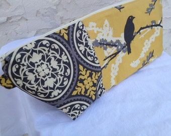 Large Gray & Yellow Aviary 2 Makeup Bag