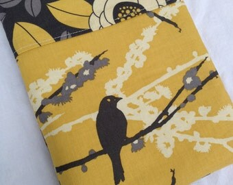 Yellow and Grey Aviary 2 Bird eReader or iPad Mini Case - Fits all Nooks and Kindles, Zipper Closure