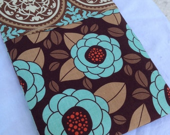 Brown & Teal Aviary 2 eReader or iPad Mini Case - Made to Fit Any eReader, Zipper Closure