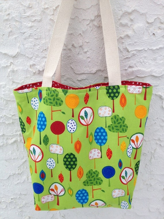 Happy Trees Reversible Canvas Tote Bag, Made and Ready to Ship