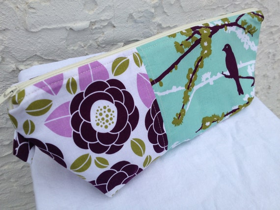 Large Plum & Teal Aviary 2 Makeup Bag, Made and Ready to Ship