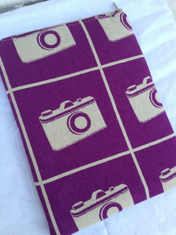 Purple Camera eReader or iPad Mini Case - Fits Nooks and Kindles, Zipper Closure