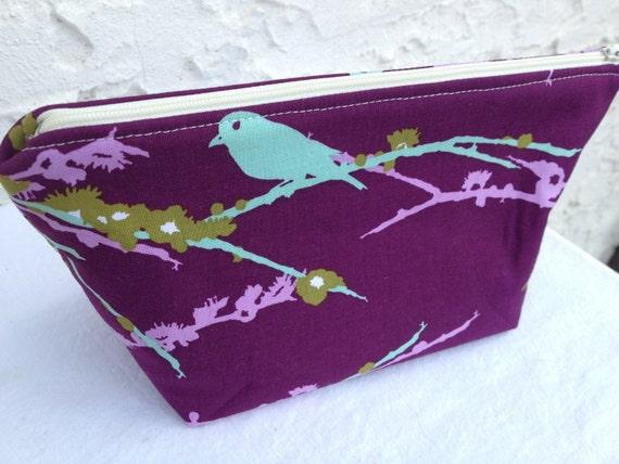 Small Purple & Teal Aviary 2 Makeup Bag