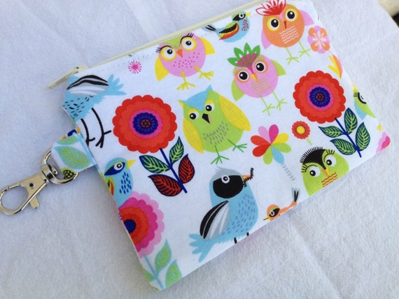 Bright Birds & Owls Small Zippered Pouch