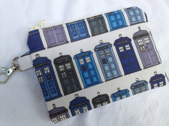 T.A.R.D.I.S. Small Zippered Pouch, Notions Case, Coin Purse