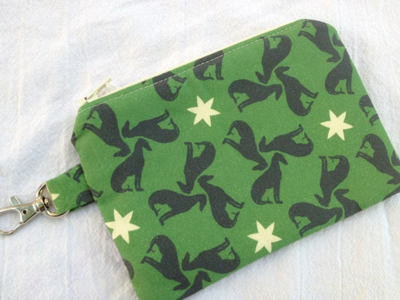 Green Greyhounds Small Zippered Pouch