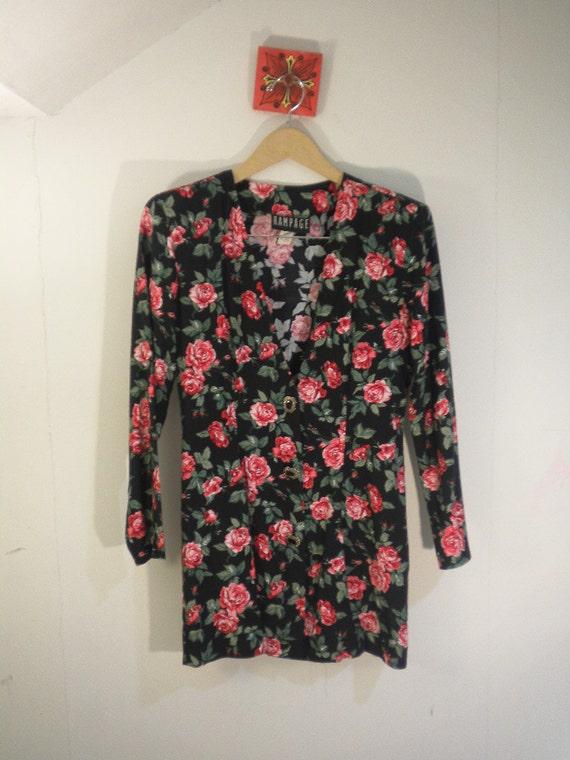 Reserved for (((doris1230))) 80s Rampage pink roses floral blazer Size M