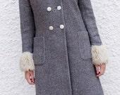 1990s tweed coat M