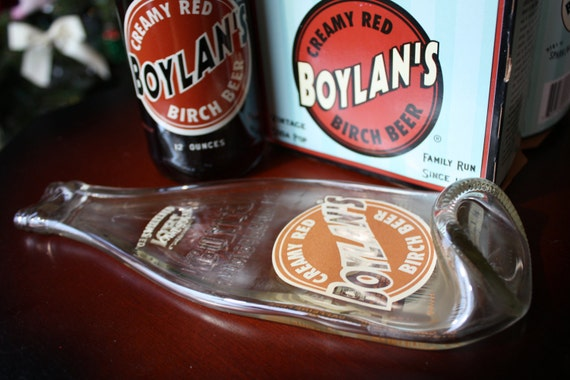 Recycled Glass Bottle, Spoon Rest, Card Holder, Trinket Tray, BOYLAN'S Birch Beer, Melted Soda Bottle, Dessin Creations