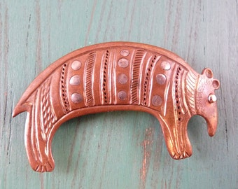 AMAZING Vintage Armadillo Pin Brooch Copper and Sterling Silver