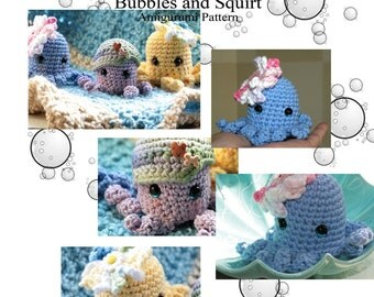 PDF Amigurumi Pattern  Bubbles and Squirt Octopus