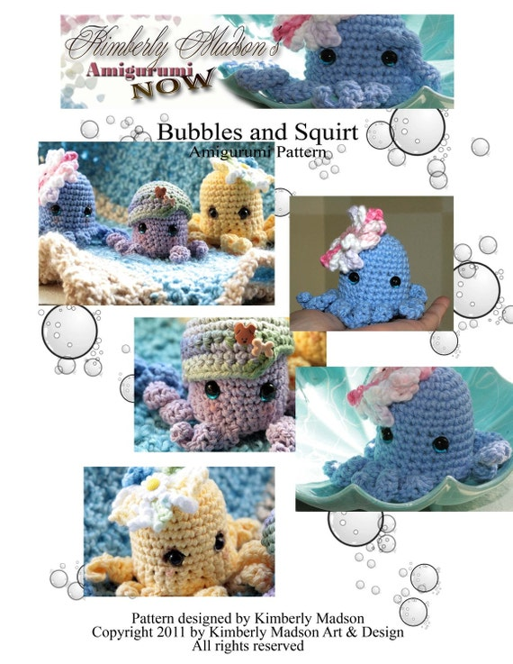 pattern - pdf  Bubbles and Squirt Amigurumi