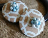 Curtain Tie Backs Tiebacks Chocolate Robins Egg Blue Geometric  with Vintage Bling Retro Mod FREE SHIPPING