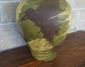 Haeger Vase Earthwarp Mid Century Modern Large 13.5 Inches Glaze Green Vintage Vase Brown Cream Made in USA Pottery