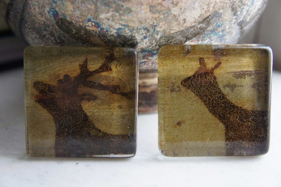 Unique Curtain Tie Backs Tiebacks Glass Tiles Deer Antlers  Vintage Landscape Oil Painting FREE SHIPPING