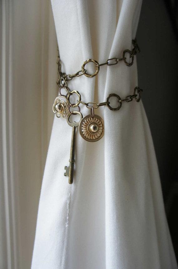 Items Similar To Curtain Tieback Antique Brass Chain Skeleton Key Shabby Chic Boho Unique Style