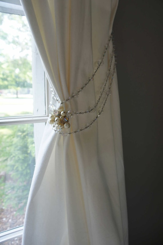 Curtain Tie Back Vintage Crystal Beads Pearls Sparkly Nursery Decor Girls Room