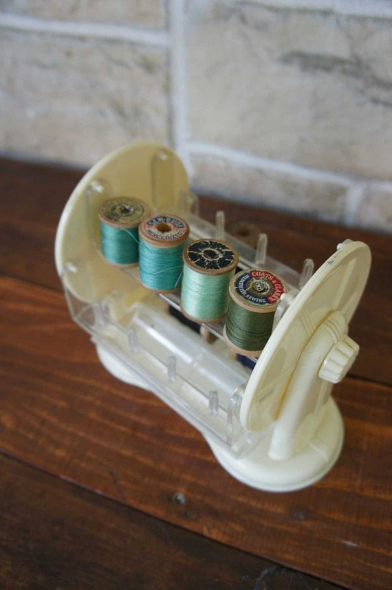 Vintage Thread Organizer Lucite Cream Sewing Box Craft Rotate Carousel Organize